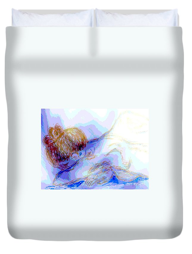 Lady Duvet Cover featuring the digital art Lady Crying by Shelley Jones