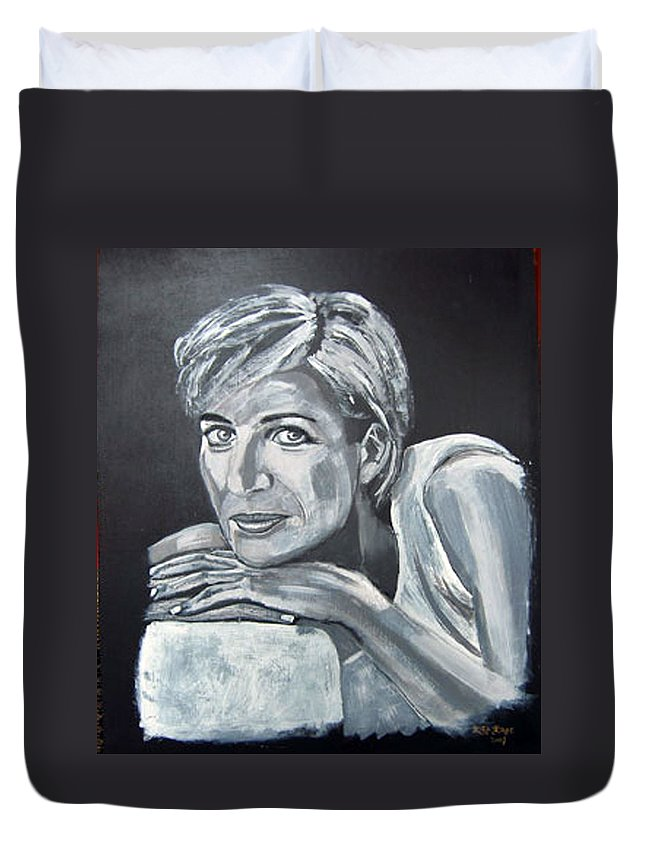 Lady Diana Spencer Duvet Cover featuring the painting Lady Di by Richard Le Page