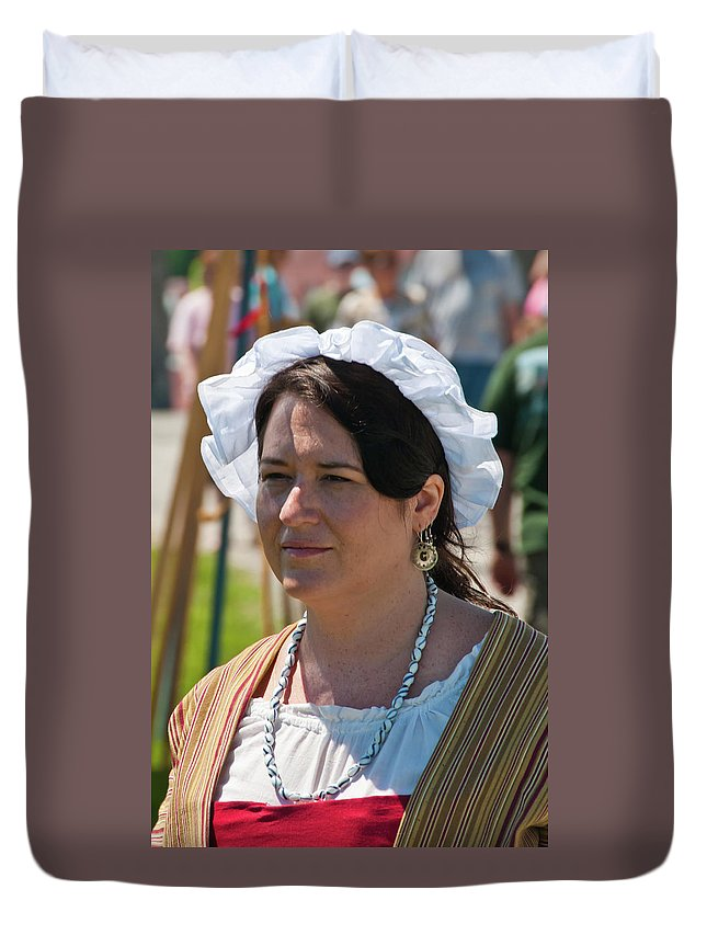 French & Indian War Re-enactor Duvet Cover featuring the photograph Lady II 6691 by Guy Whiteley