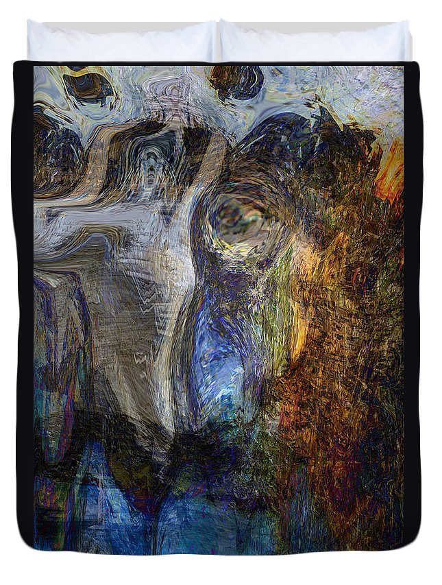 Abstract Art Duvet Cover featuring the digital art Lady In Blue by Linda Sannuti
