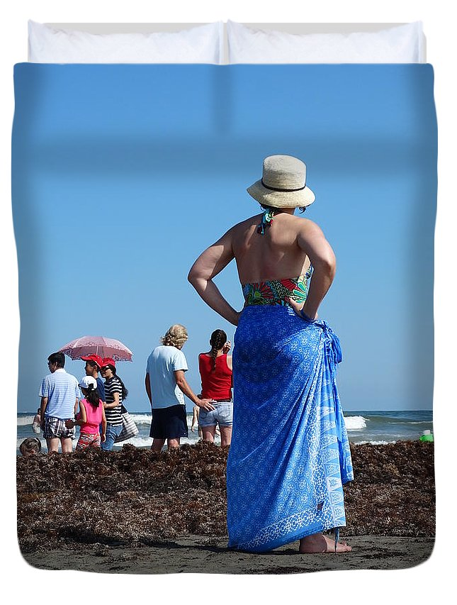 Beach Duvet Cover featuring the photograph Lady In Blue by Ruby Rammer