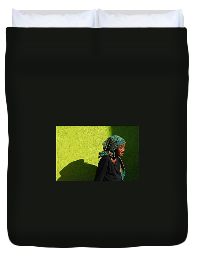 Africa Duvet Cover featuring the photograph Lady In Green by Skip Hunt