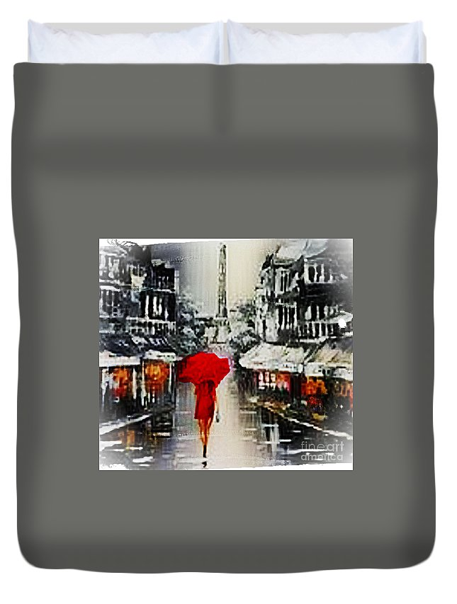 Lady Duvet Cover featuring the mixed media Lady In Paris by Rod Jellison