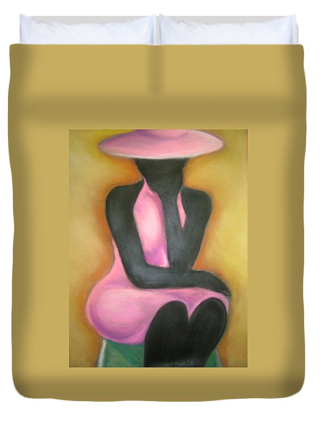 Woman Duvet Cover featuring the drawing Lady In Pink by Jan Gilmore