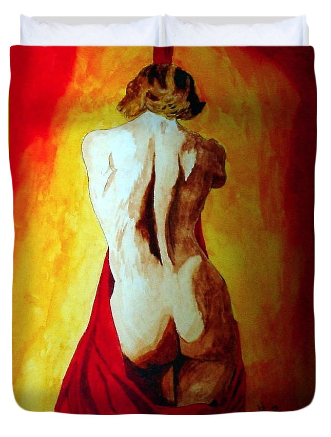 Nude Red Lady In Red Duvet Cover featuring the painting Lady In Red by Herschel Fall