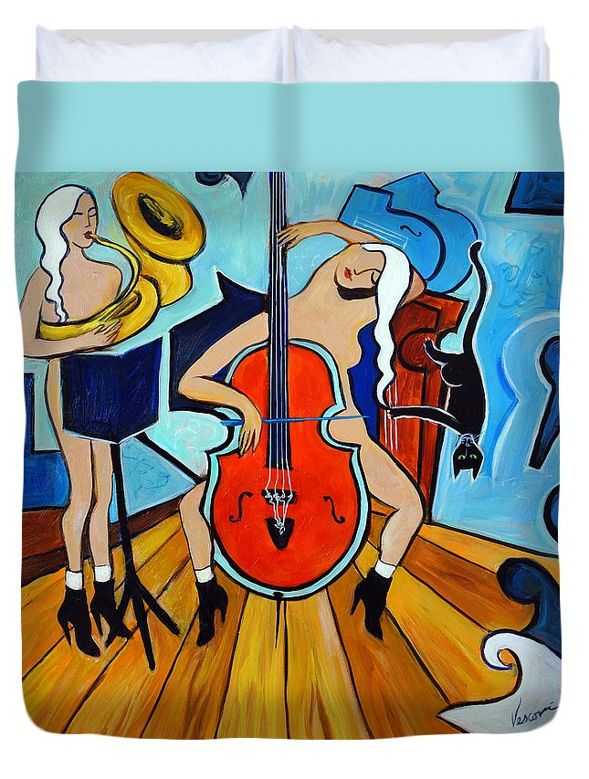 Musicians Duvet Cover featuring the painting Lady In Red by Valerie Vescovi