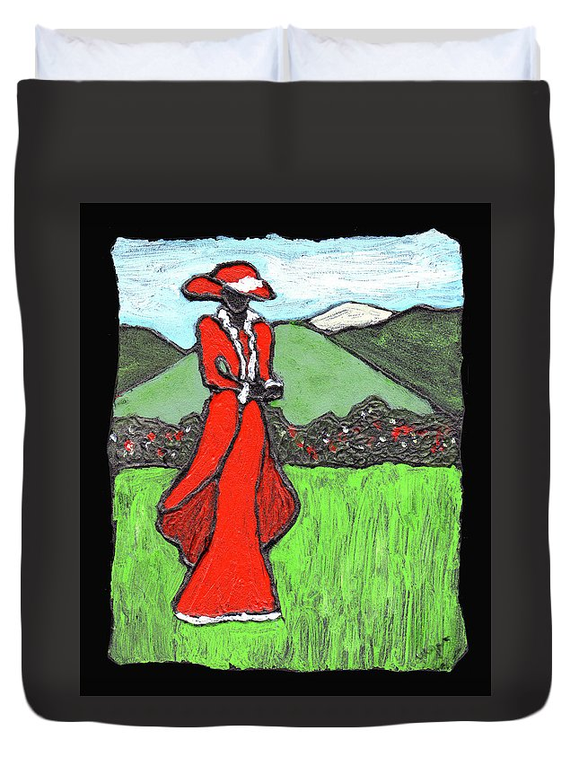Red Duvet Cover featuring the painting Lady In Red by Wayne Potrafka