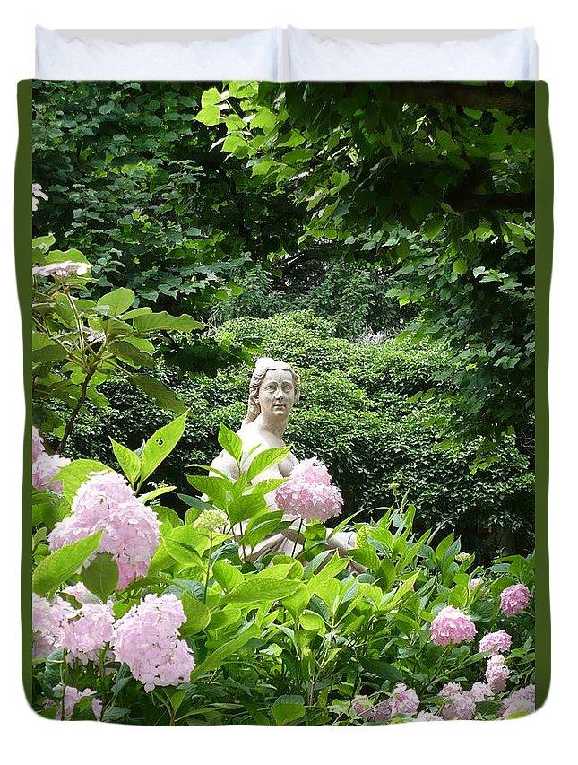 Garden Duvet Cover featuring the photograph Lady In Salzburg Garden by Carol Groenen