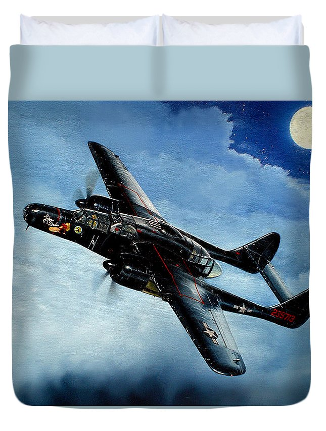 Military Duvet Cover featuring the painting Lady in the Dark by Marc Stewart