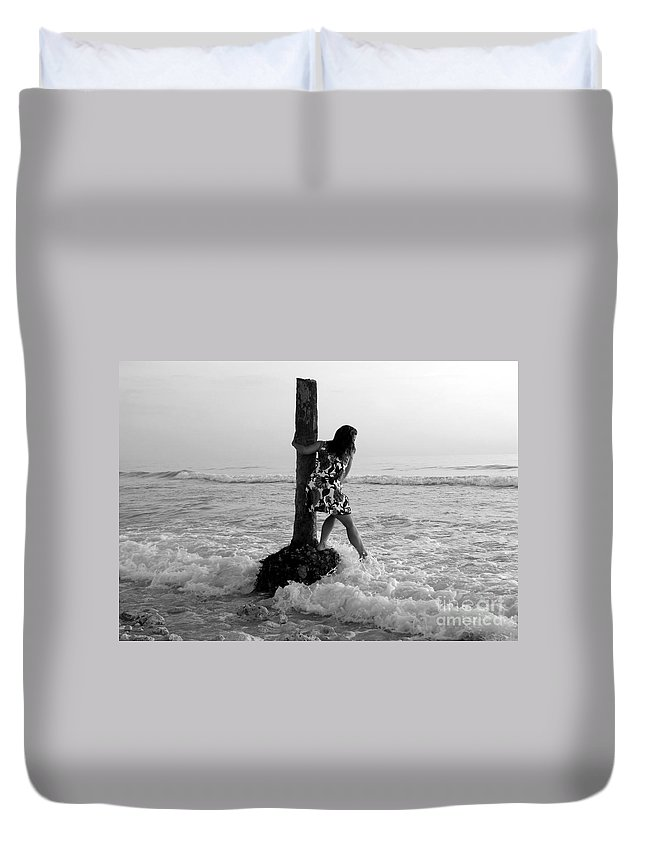 Beach Duvet Cover featuring the photograph Lady In The Surf by David Lee Thompson