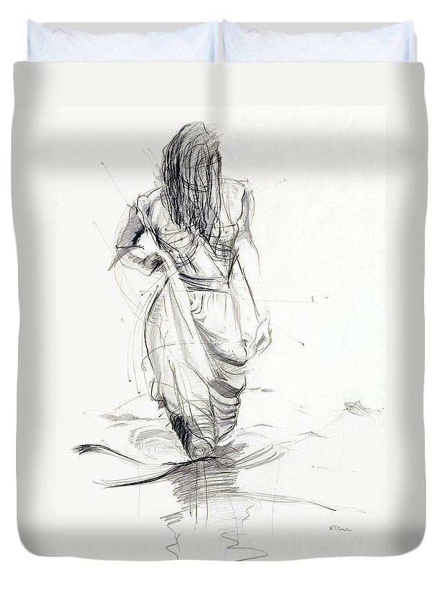 Woman Duvet Cover featuring the drawing Lady In The Waters by Kerryn Madsen-Pietsch