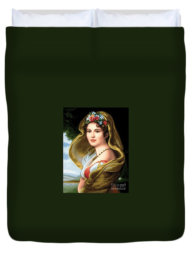 Lady In Veil Needlework Design Cross Stitch Gobelin Stitched Duvet Cover featuring the tapestry - textile Lady In Veil by Stoyanka Ivanova