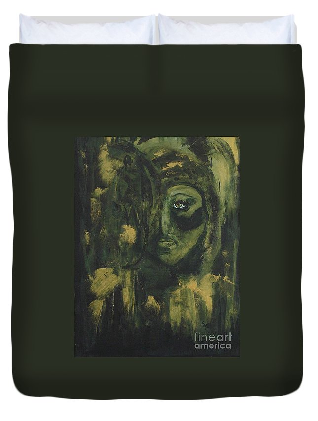 Lady Ivy Duvet Cover featuring the painting Lady Ivy by Shelley Jones