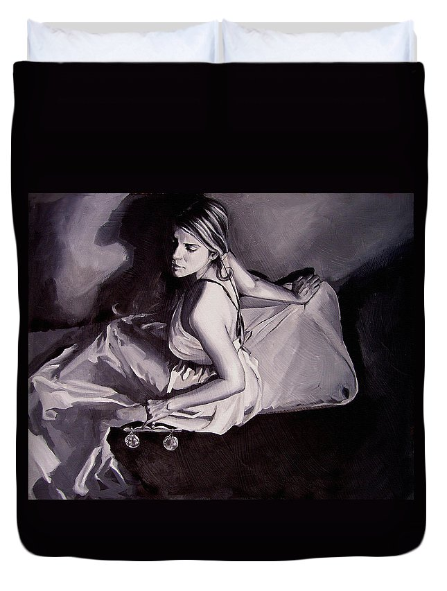 Law Art Duvet Cover featuring the painting Lady Justice black and white by Laura Pierre-Louis