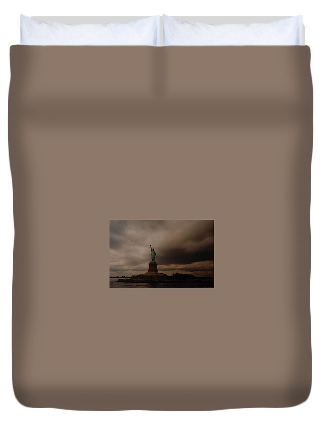Statue Of Liberty Duvet Cover featuring the photograph Lady Liberty by Rob Hans