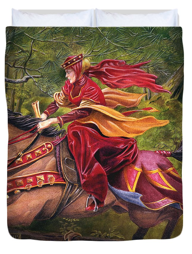 Camelot Duvet Cover featuring the painting Lady Lunete by Melissa A Benson