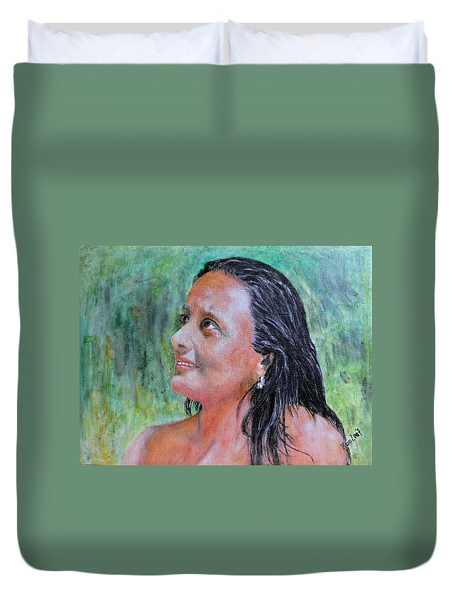 Lady Duvet Cover featuring the painting Lady Of India by Helmut Rottler