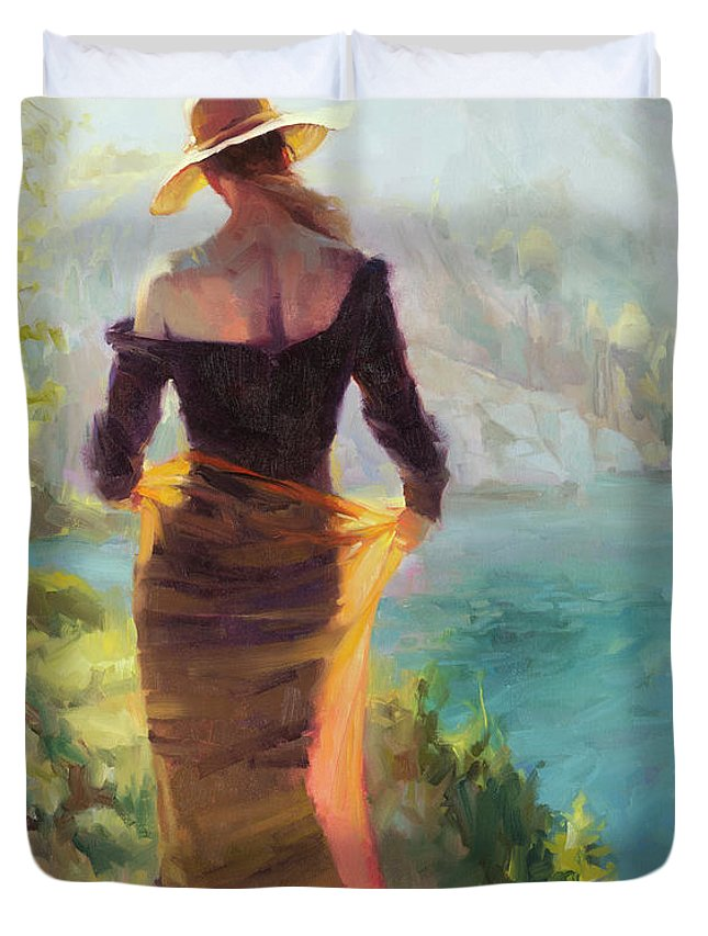 Woman Duvet Cover featuring the painting Lady of the Lake by Steve Henderson