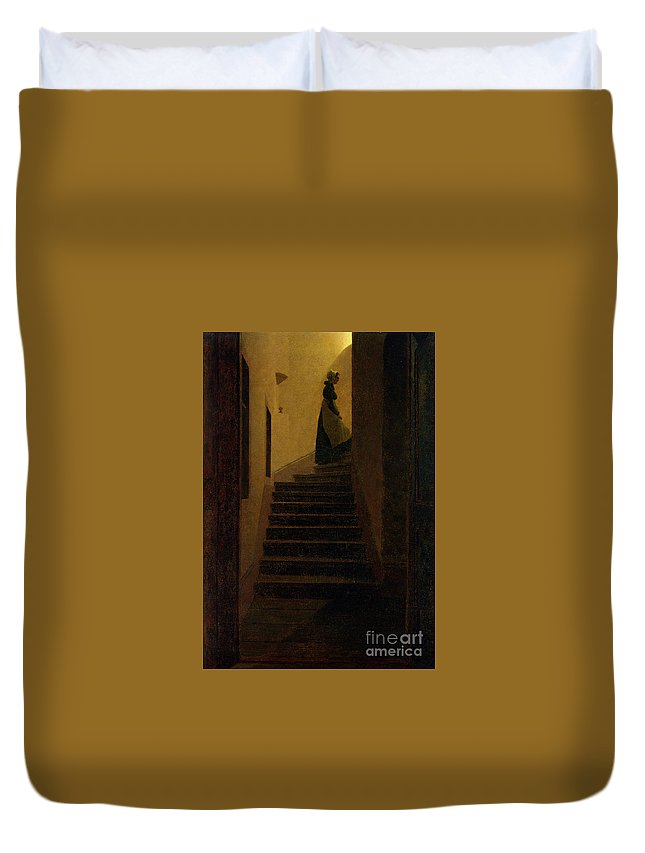 Caspar David Friedrich (1774 - 1840) Duvet Cover featuring the painting Lady On The Staircase by MotionAge Designs
