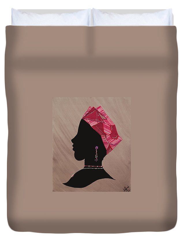 Jewelry Duvet Cover featuring the mixed media Lady Pink by Kayon Cox