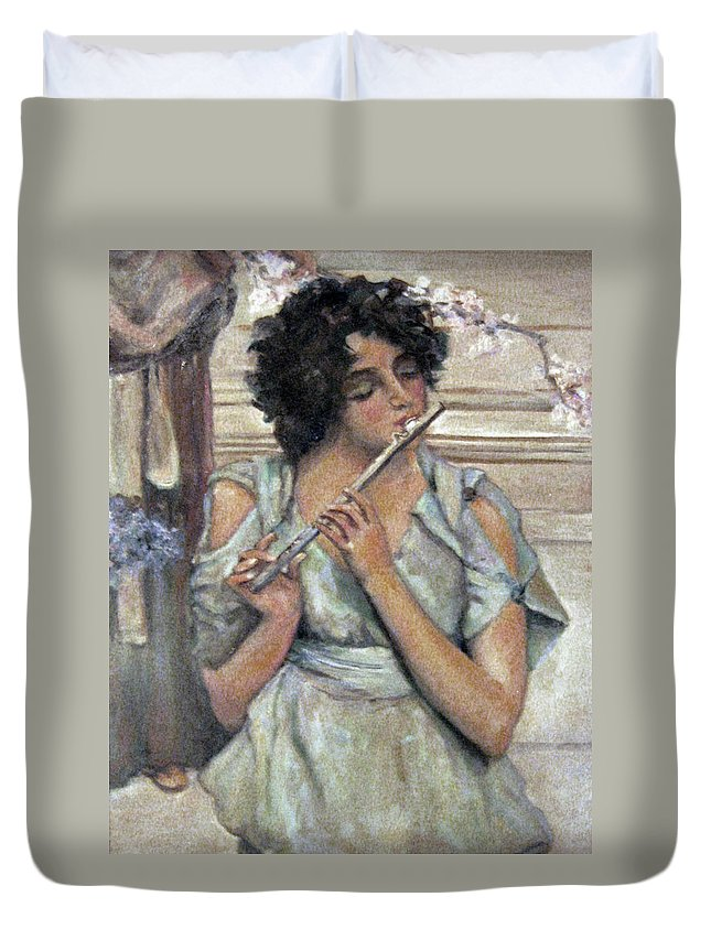 Girl Duvet Cover featuring the painting Lady Playing Flute by Donna Tucker