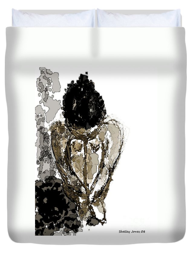 Lady Duvet Cover featuring the digital art Lady Sitting by Shelley Jones