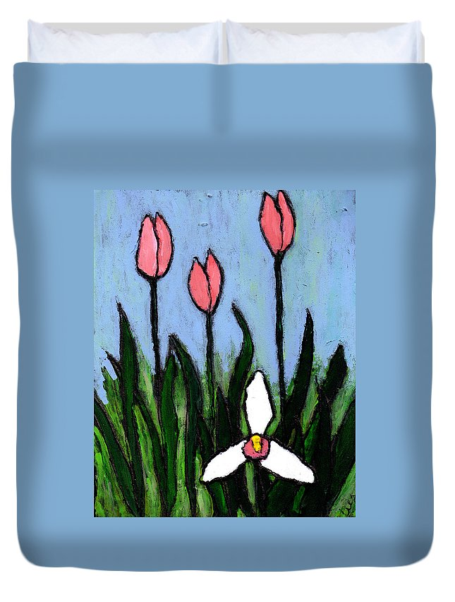 Flowers Duvet Cover featuring the painting Lady Slipper And Court by Wayne Potrafka