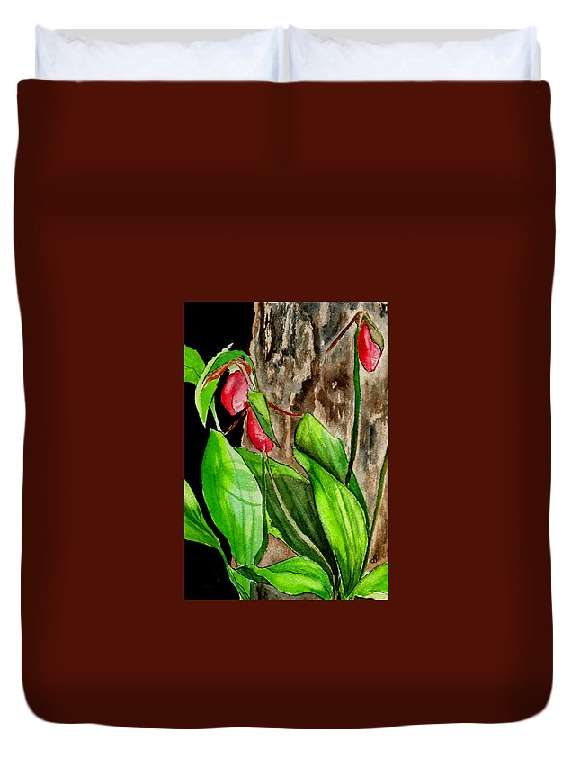 Watercolor Duvet Cover featuring the painting Lady Slippers by Brenda Owen