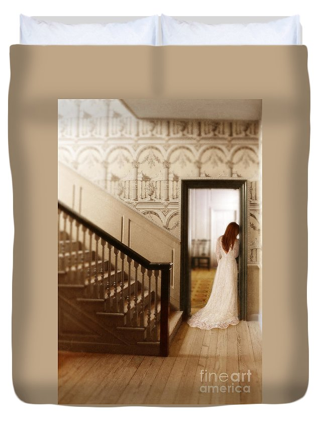 Beautiful Duvet Cover featuring the photograph Lady Standing In A Doorway by Jill Battaglia