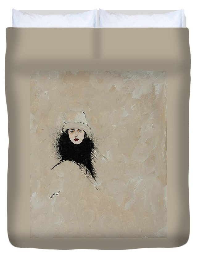 Lady With Black Fur Duvet Cover featuring the painting Lady With Black Fur by Susan Adams