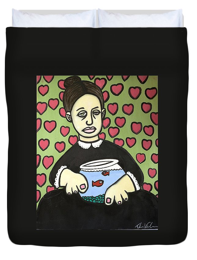 Duvet Cover featuring the painting Lady With Fish Bowl by Thomas Valentine