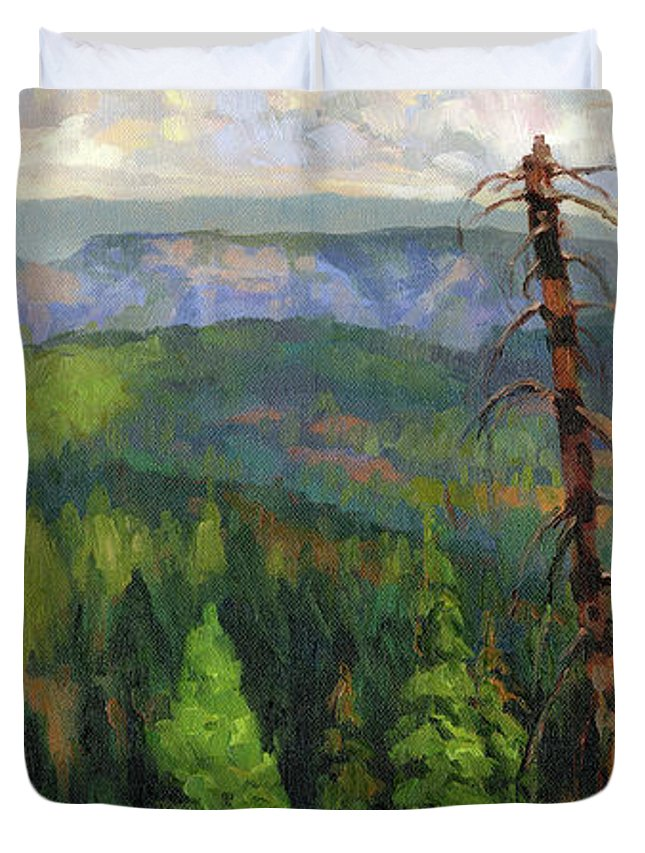 Wilderness Duvet Cover featuring the painting Ladycamp by Steve Henderson