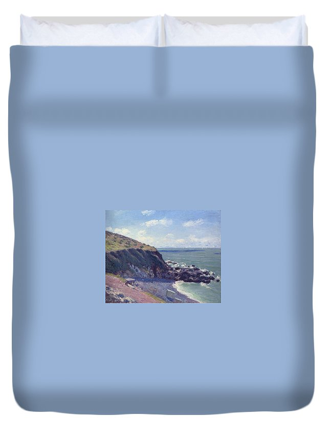Lady's Cove Duvet Cover featuring the painting Ladys Cove by MotionAge Designs