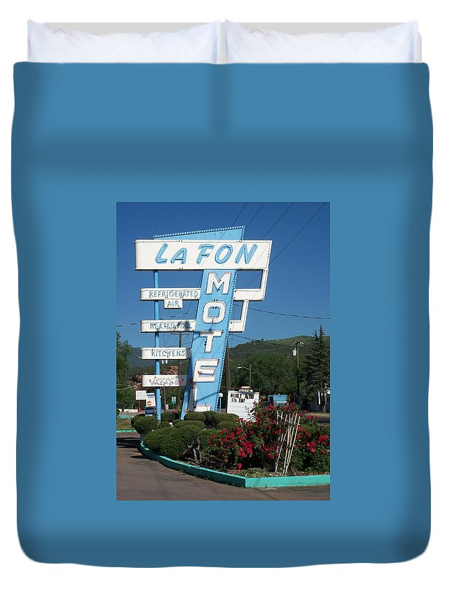 Vintage Motel Signs Duvet Cover featuring the photograph Lafon Motel by Anita Burgermeister