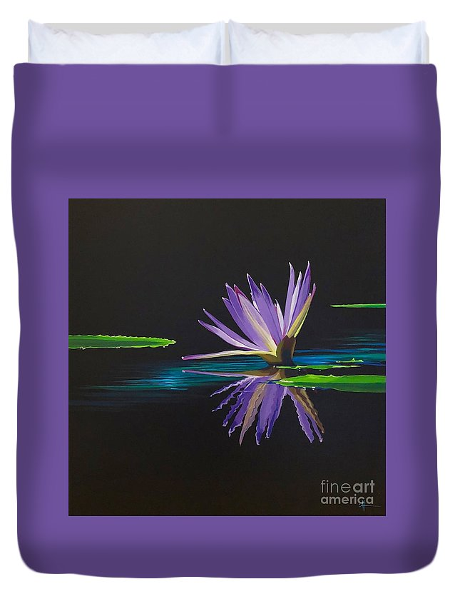 Waterlily Duvet Cover featuring the painting Lagan Love by Hunter Jay