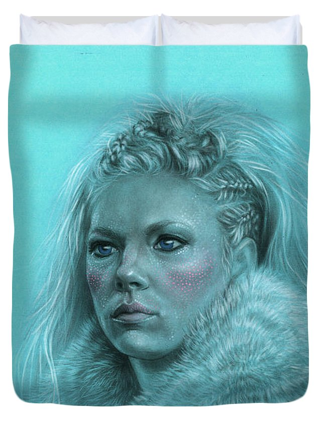 Lagertha Duvet Cover featuring the drawing Lagertha Shieldmaiden by Marina Pacurar