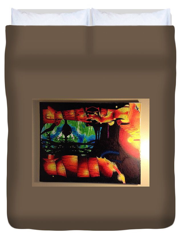 Duvet Cover featuring the painting Lagoon Of The Lost Boys by Jay Shaw