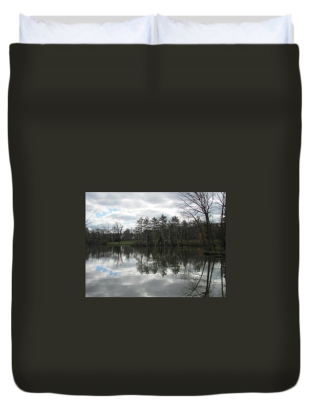 Lagoon Duvet Cover featuring the photograph Lagoon Reflection 1 by Anita Burgermeister