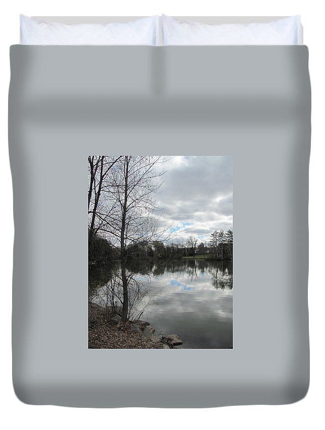 Lagoon Duvet Cover featuring the photograph Lagoon Reflections 2 by Anita Burgermeister
