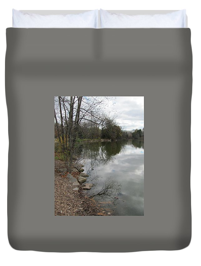 Lagoon Duvet Cover featuring the photograph Lagoon Reflections 3 by Anita Burgermeister