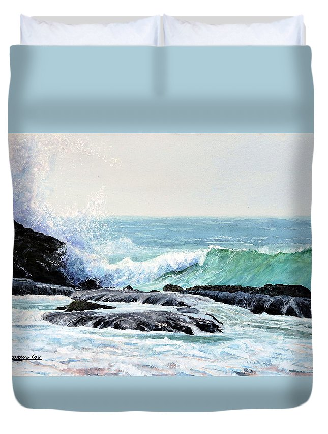 Wave Duvet Cover featuring the painting Laguna Splash by Lauren Cox