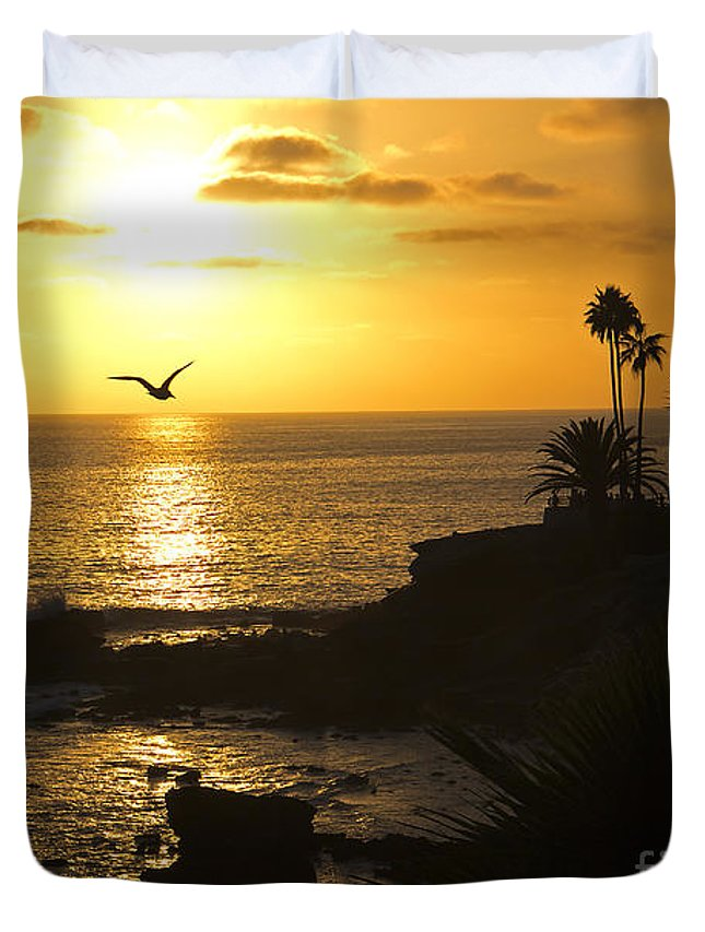 Wall Art Duvet Cover featuring the photograph Laguna Sunset by Kelly Holm