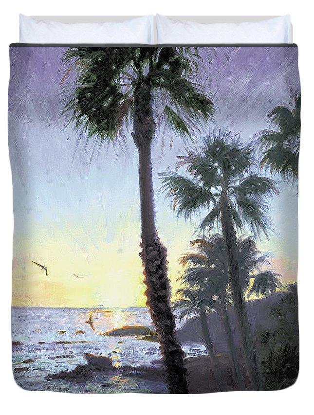 Laguna Duvet Cover featuring the painting Laguna Sunset by Steve Simon