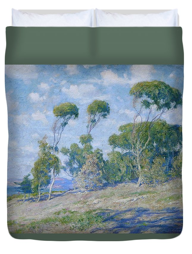 Blue Duvet Cover featuring the painting Laguna Trees by Guy Rose