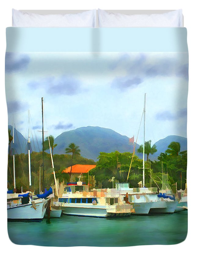 Lahina Duvet Cover featuring the photograph Lahina Harbor by Kurt Van Wagner
