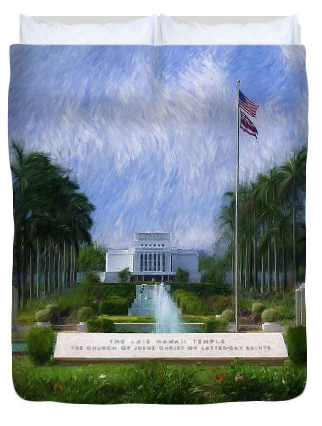 Laie Duvet Cover featuring the painting Laie Hawaii Temple by Geoffrey Lewis