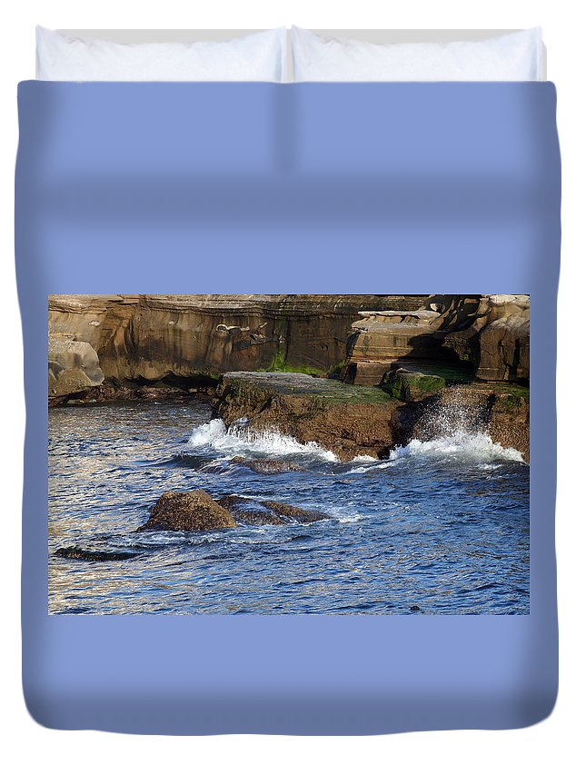 Ocean Duvet Cover featuring the photograph Lajolla Rocks by Margie Wildblood