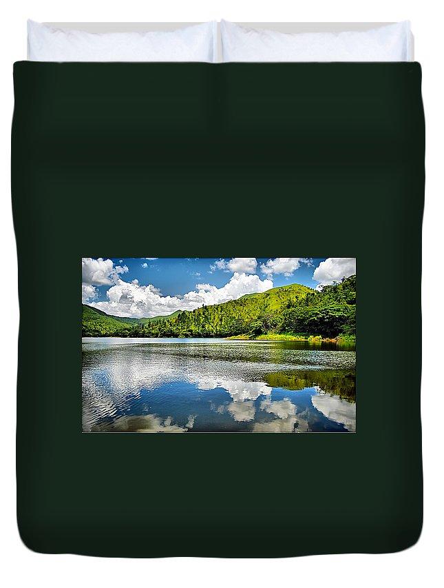 Lake Duvet Cover featuring the photograph Lake Agua Blanca by Galeria Trompiz