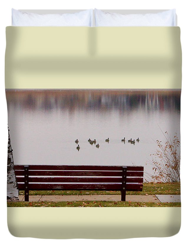 Aspen Duvet Cover featuring the photograph Lake Bench by James BO Insogna