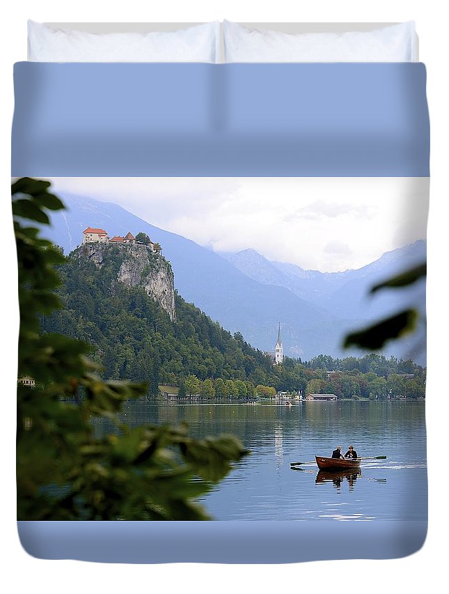 Lake Duvet Cover featuring the photograph Lake Bled With Row Boat by Clyn Robinson